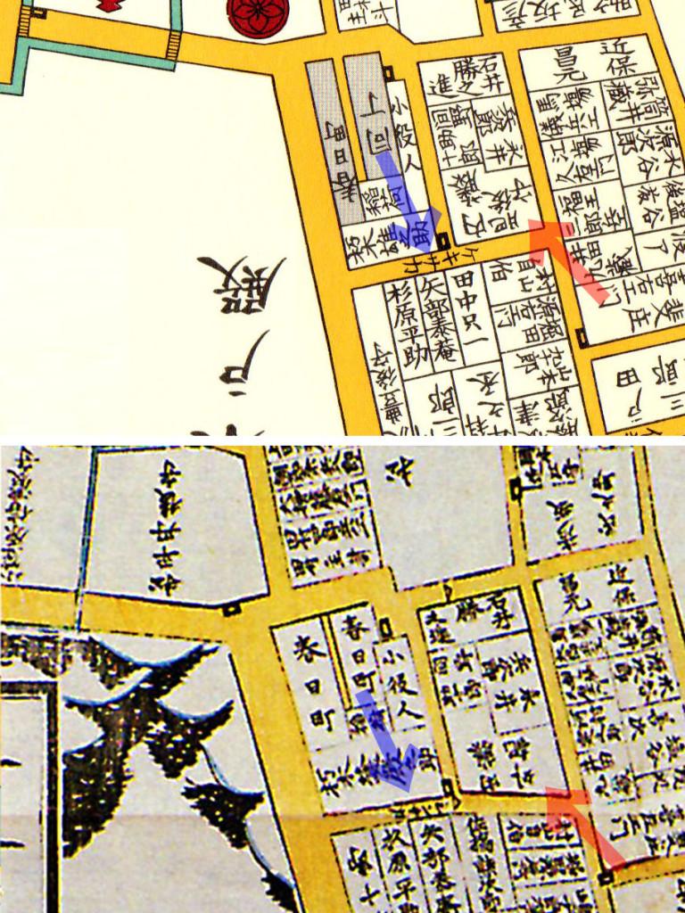 古地図 上:万延二年(1861年)尾張屋刊江戸切絵図 下:嘉永三年(1850年)近吾堂版江戸切絵図より