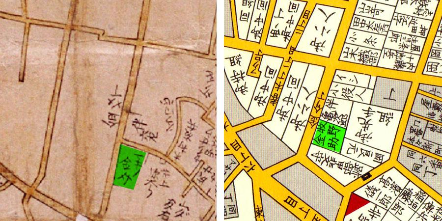 古地図:左:寛文10-13年(1670-73)新版江戸大絵図、右:嘉永七年(1854年)江戸切絵図より「牧野金助」