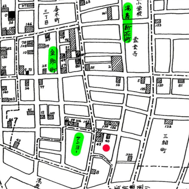 古地図:昭和32年文京区医療機器産業地図。斜線が医療機器メーカー。
