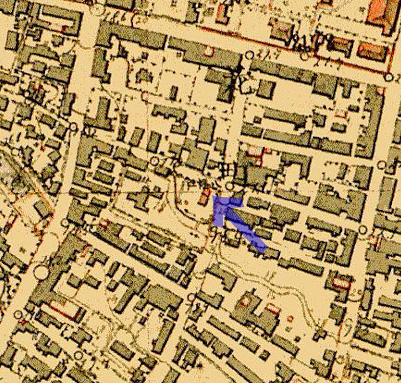 古地図:明治9-17年(1876-84年)5千分の1東京図測量原図より八幡社