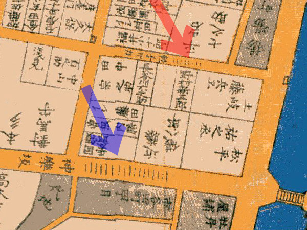 古地図:嘉永6年1853年尾張屋刊江戸切絵図より神楽坂、軽子坂