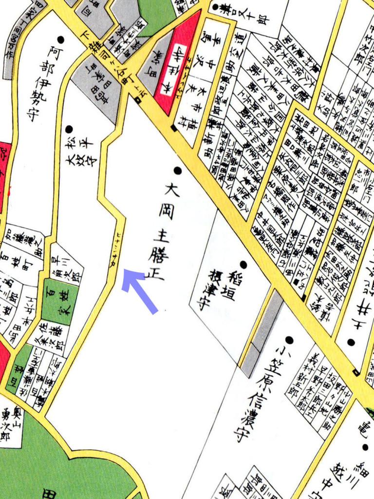 古地図:嘉永七年(1854年)尾張屋刊江戸切絵図より「ヒナシザカ」