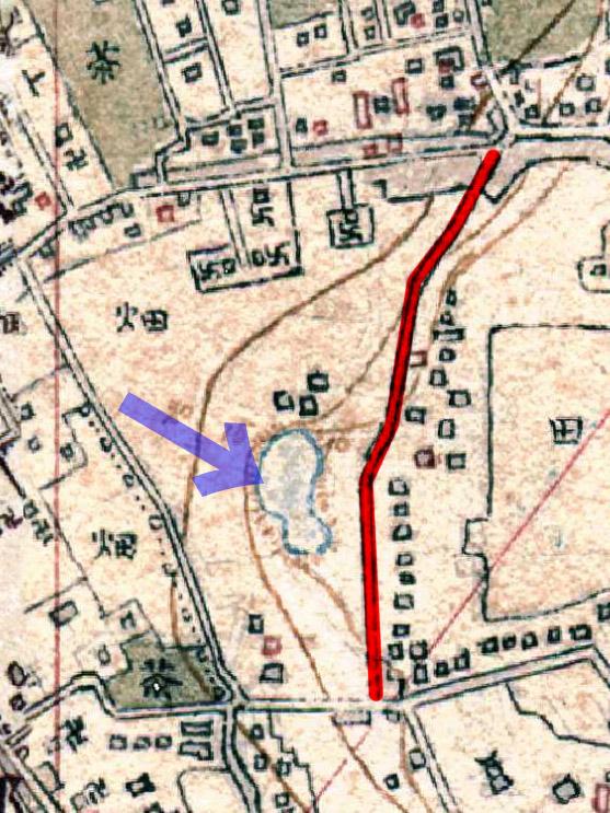 古地図:明治13-19年(1880-86年)第一軍管地方2万分の1迅速測図原図より太田ヶ池と藪下通り