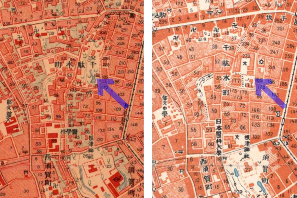 古地図:左:大正5-10年(1917-21年)陸地測量部2万5千分の1地形図 右:昭和3-11年(1928-36年)1万分の1地形図