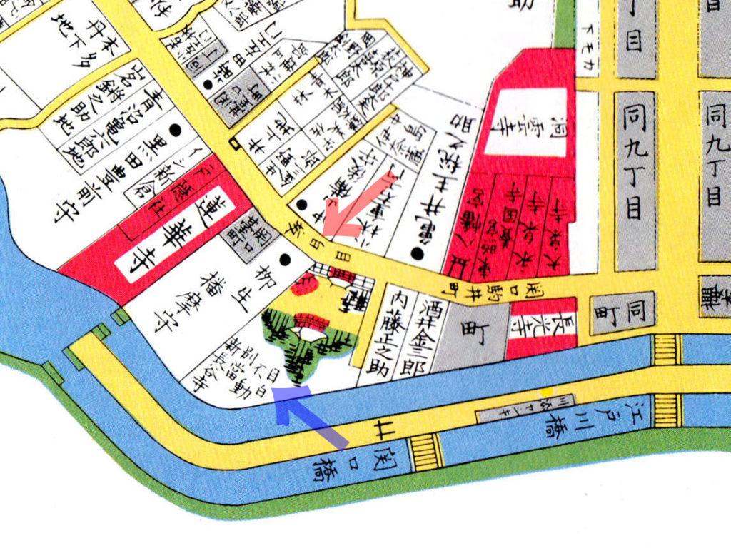 古地図:安政四年(1857年)改 尾張屋刊江戸切絵図より
