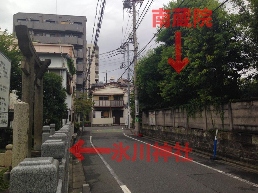 氷川神社、南蔵院位置関係
