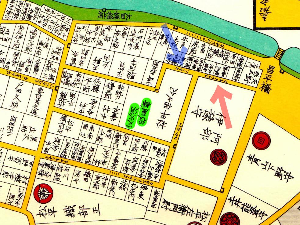 嘉永六年(1853年)尾張屋刊江戸切絵図より