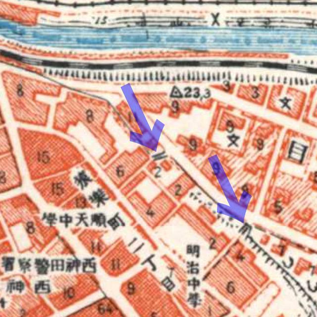 古地図:昭和3-11年(1928-36年)1万分の1地形図より