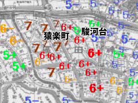 関東大震災震度地図:駿河台は震度5+、猿楽町は6+〜7