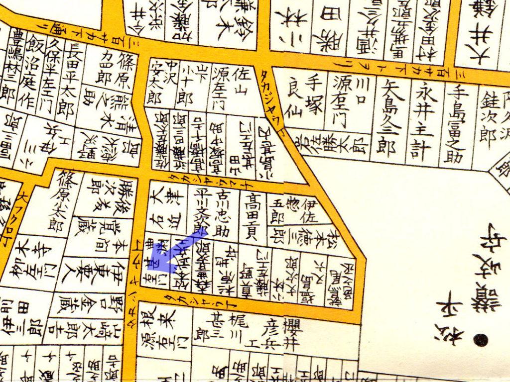 古地図:嘉永七年(1854年)尾張屋刊江戸切絵図より「タカジャウ丁」
