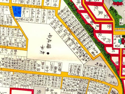 古地図:嘉永七年(1854年)尾張屋刊江戸切絵図より「手塚良仙」