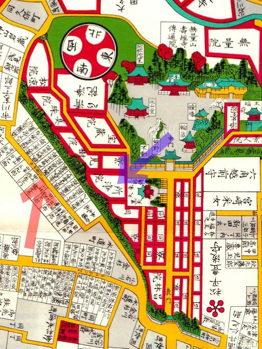 古地図:嘉永七年(1854年)尾張屋刊江戸切絵図より「所浄院」
