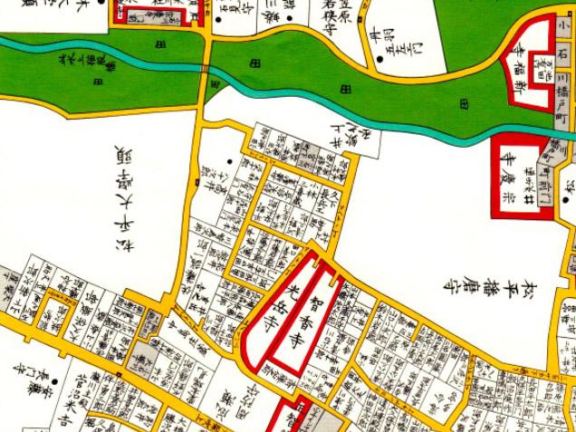 古地図:嘉永六年(1853年)尾張屋刊江戸切絵図より。 氷川田んぼ。松平播磨守屋敷の北側はやたらと「田」の表示が多い。