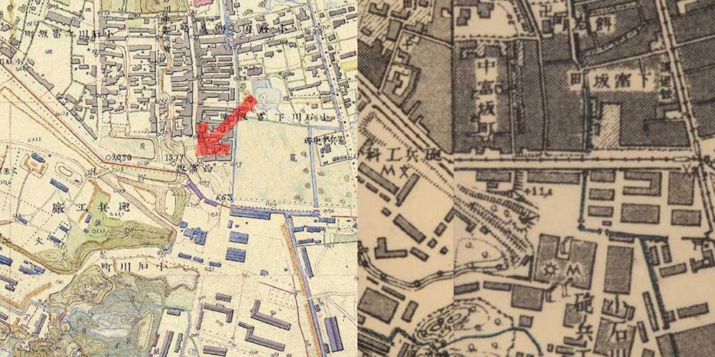 古地図:左、明治9-17年(1876-84年)5千分の1東京図測量原図 右、明治41-42年(1908-09年)1万分の1測図