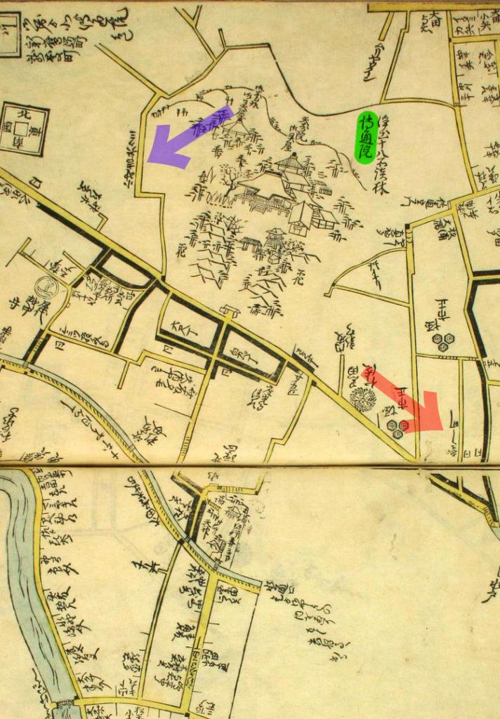 古地図:延宝八年(1680年)江戸方角安見図より「えさし町」「伝通院」青矢印が三百坂。