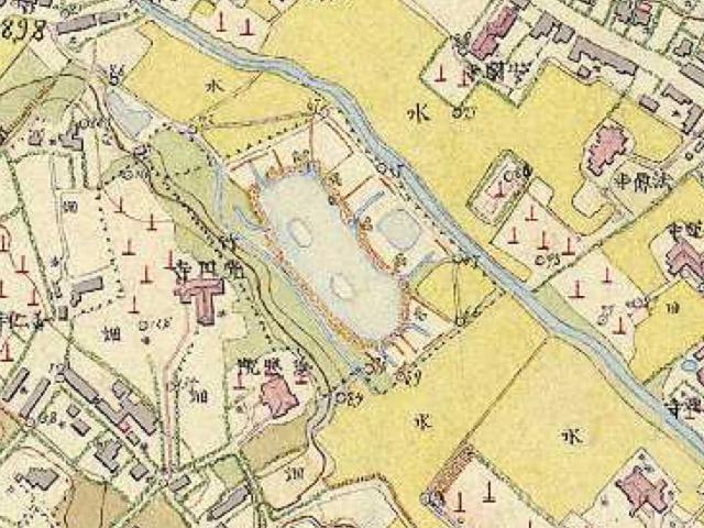 古地図:明治9-17年(1876-84年)5千分の1東京図測量原図より「狩場」。
