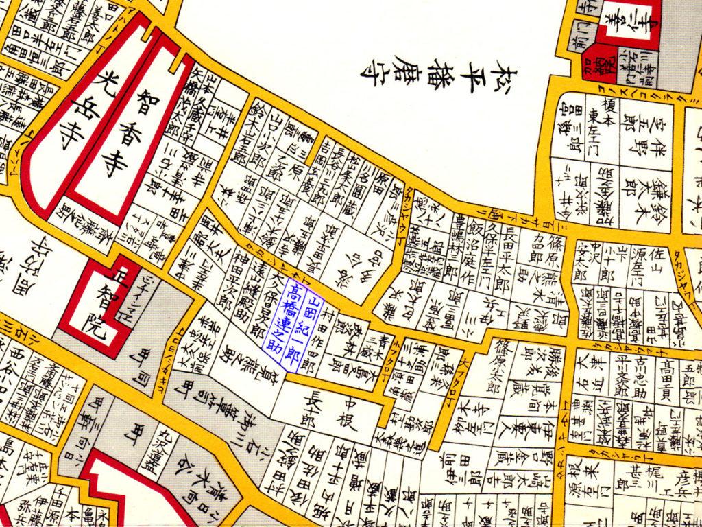 嘉永七年1854年尾張屋刊江戸切絵図より「鉄舟、泥舟」