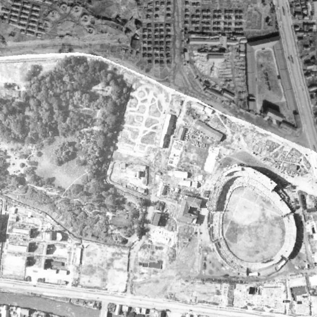 昭和20年の航空写真より後楽園球場