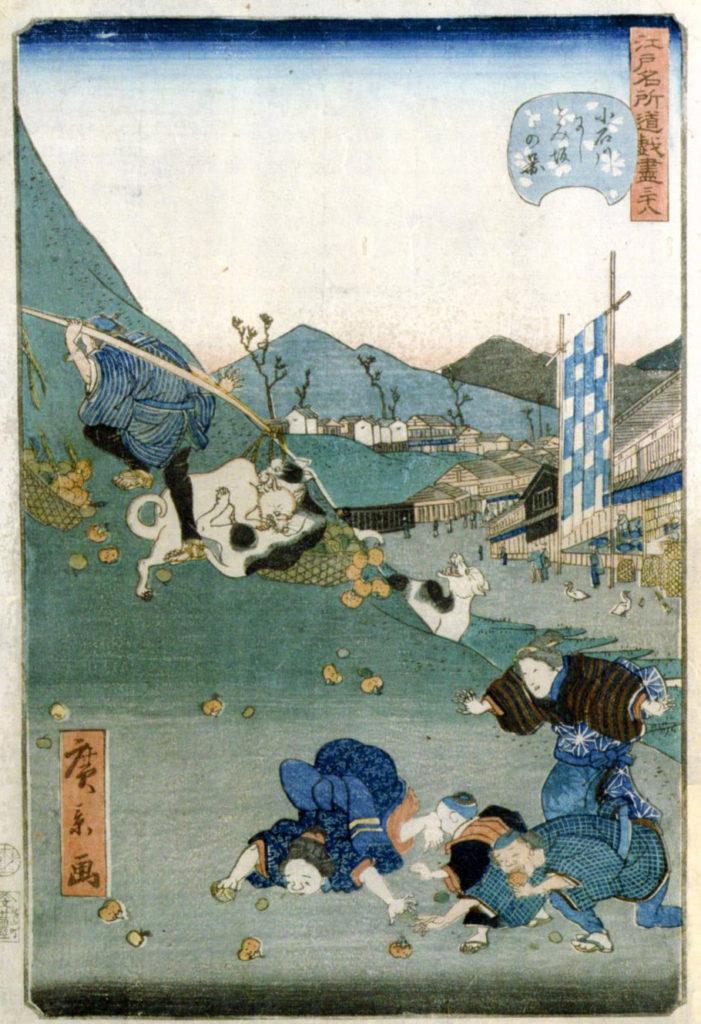 歌川広重画、小石川にしとみ坂の図