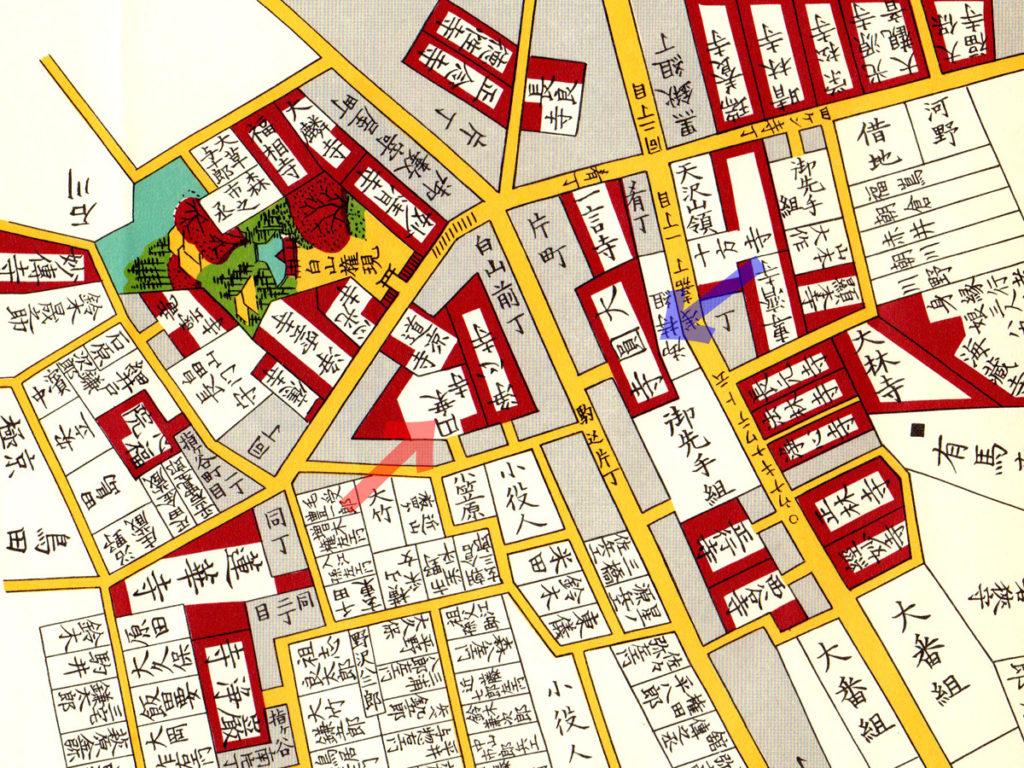 古地図:万延二年(1861年)尾張屋版本郷湯島絵図より大円寺と八百屋お七の墓のある円乗寺。