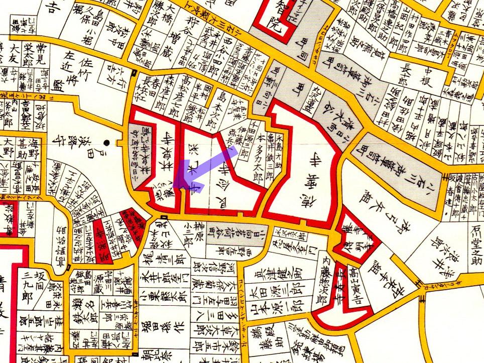 古地図:嘉永七年(1854年)尾張屋刊江戸切絵図より。「シバラレ地蔵」の表記が。