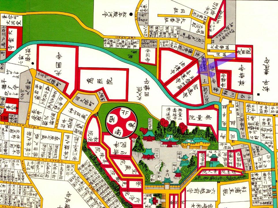 古地図:嘉永七年(1854年)尾張屋刊江戸切絵図より「豆腐地蔵」