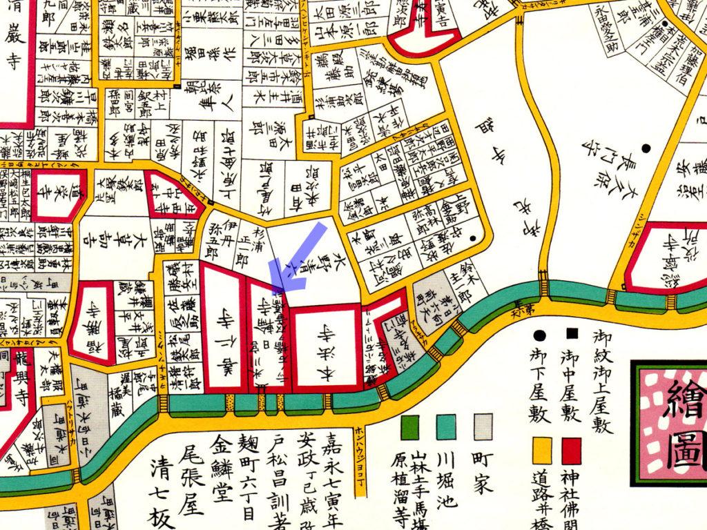 古地図:嘉永七年(1854年)尾張屋刊江戸切絵図より日輪寺