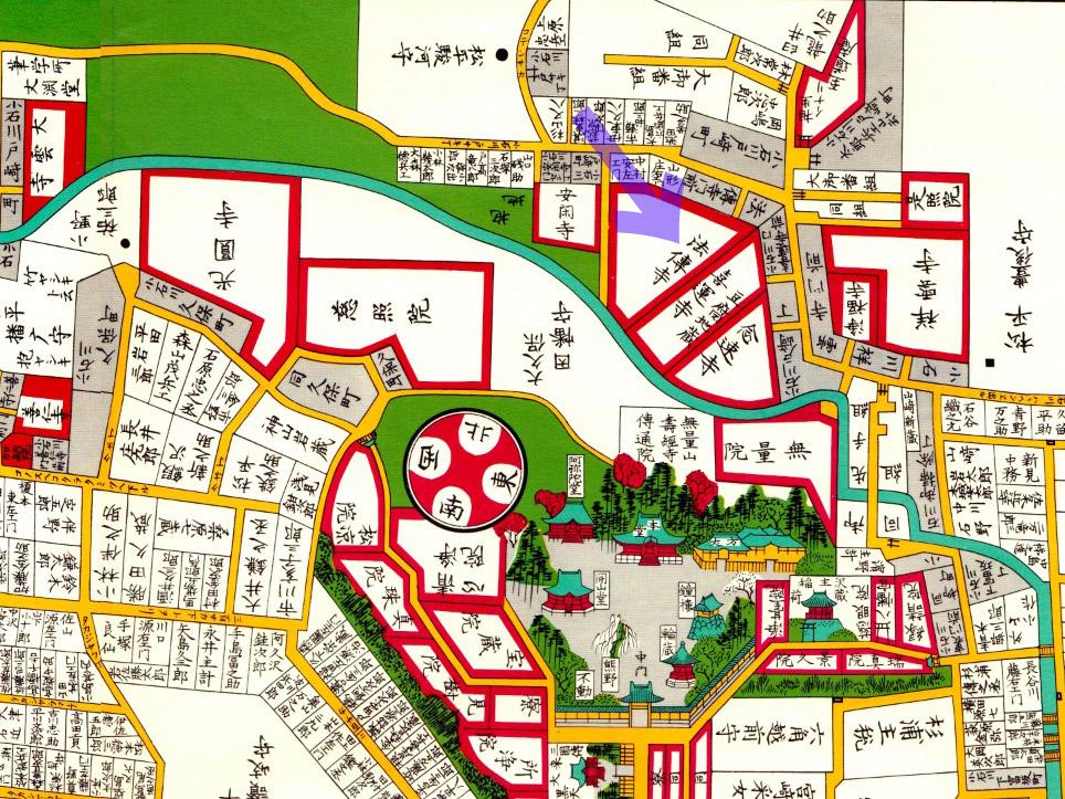古地図:嘉永七年(1854年)尾張屋刊江戸切絵図より法傳寺
