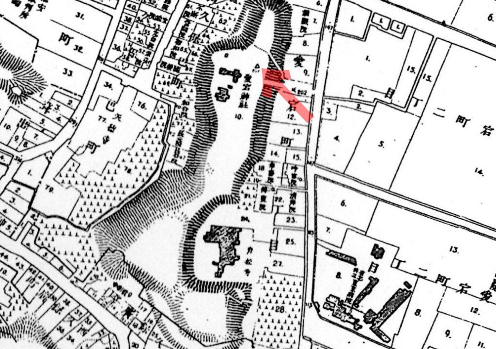 古地図:明治20年(1887年)東京実測図より。