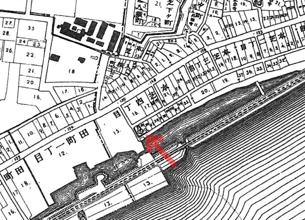古地図:明治20年(1887年)東京実測図より本芝四丁目鹿島社