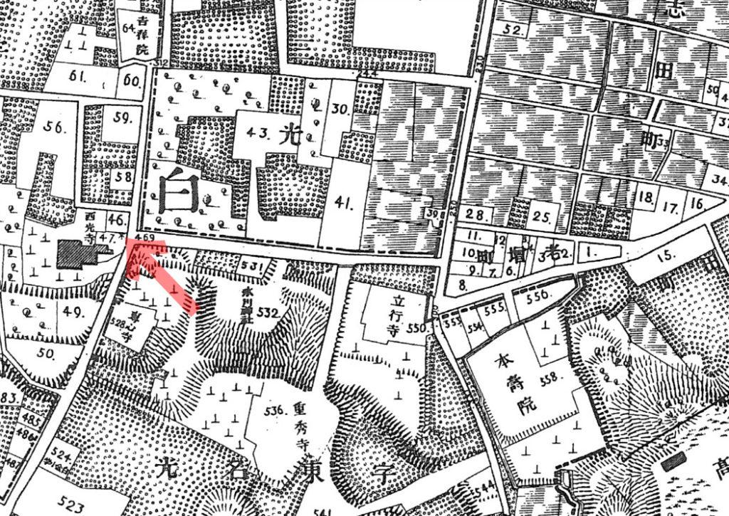 古地図:明治20年(1887年)東京実測図より白金西行寺
