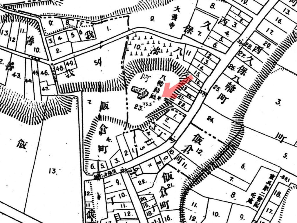 古地図:明治20年(1887年)東京実測図より西久保八幡神社