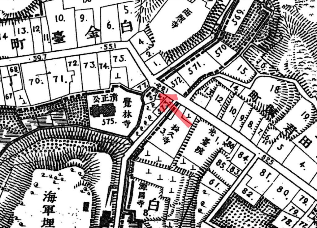 古地図:明治20年(1887年)東京実測図より覚林寺
