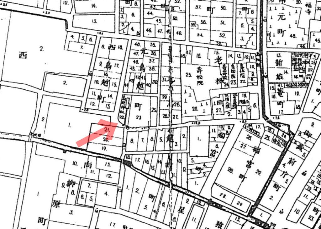 古地図:明治20年(1887年)東京実測図より鳥越神社