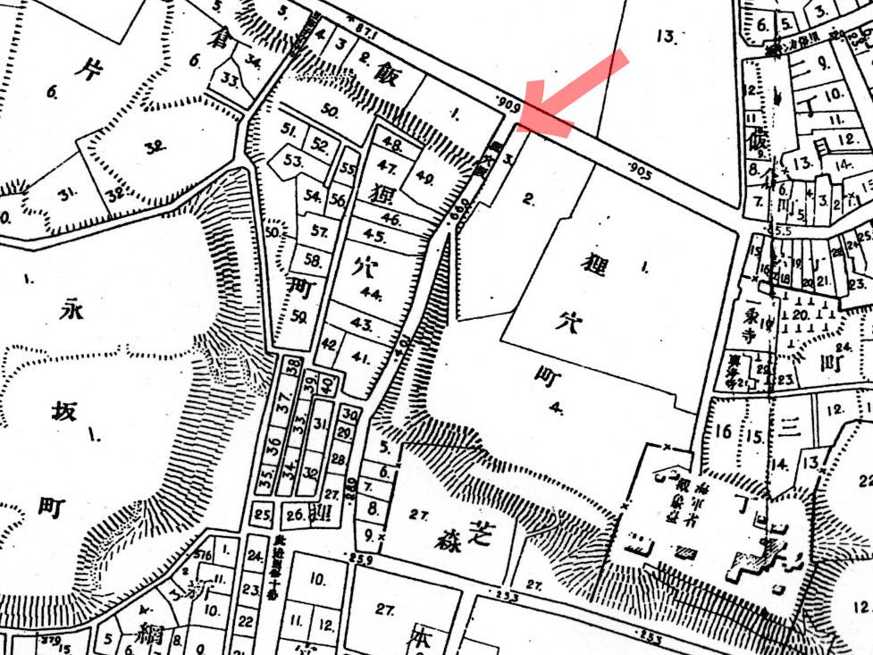 古地図:明治20年(1887年)東京実測図より