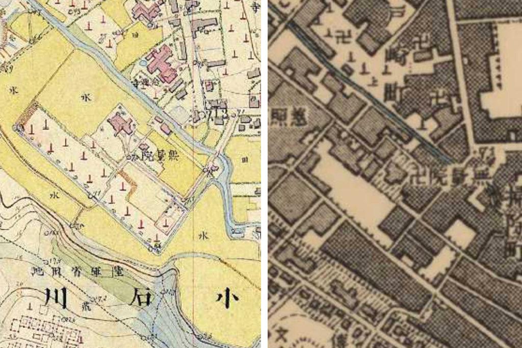 左:明治9-17年(1876-84年)5千分の1右:東京図測量原図より明治41-42年1万分の1測図