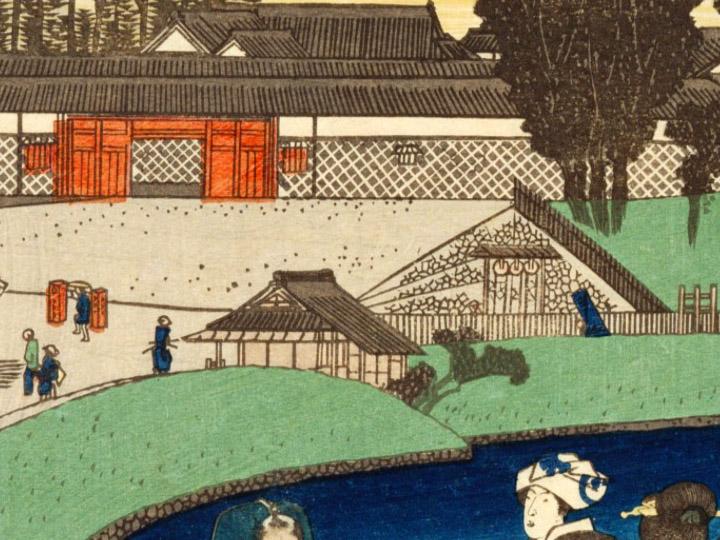 歌川広重「江都勝景 桜田外の図」部分