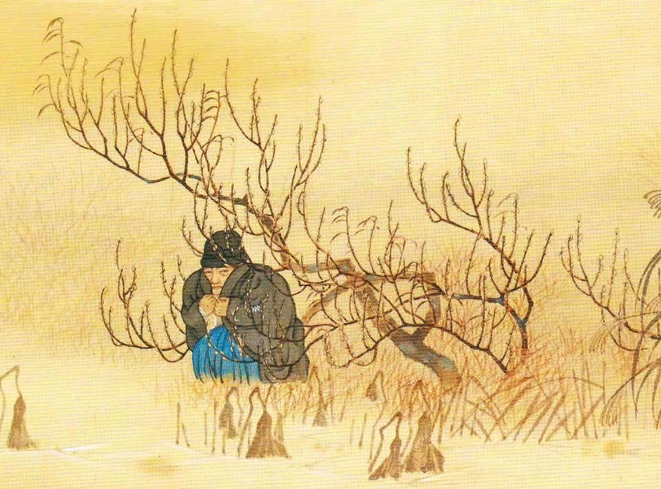 『岩倉公画伝草稿絵巻』より、第18巻、岩倉は、皇居の壕に身を隠し難を逃れた。