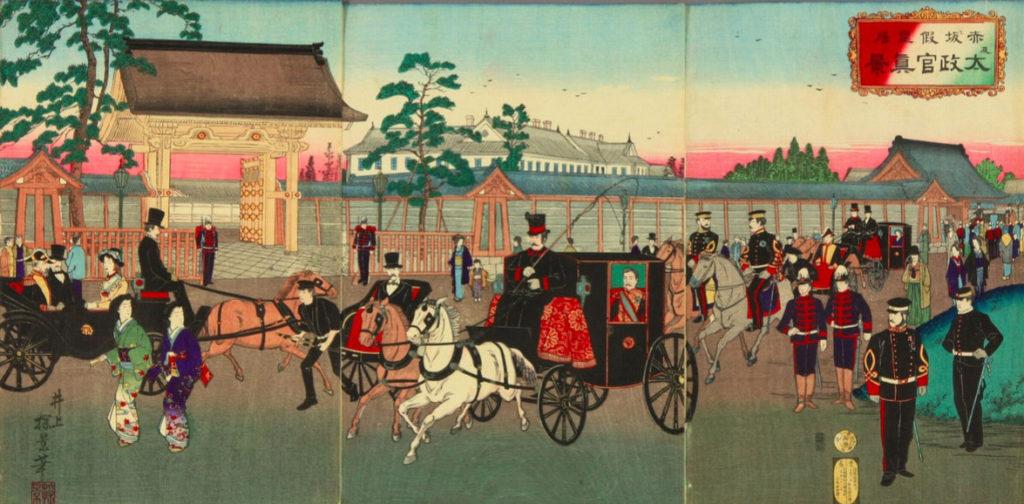 井上 探景画「赤坂仮皇居及太政官真景」