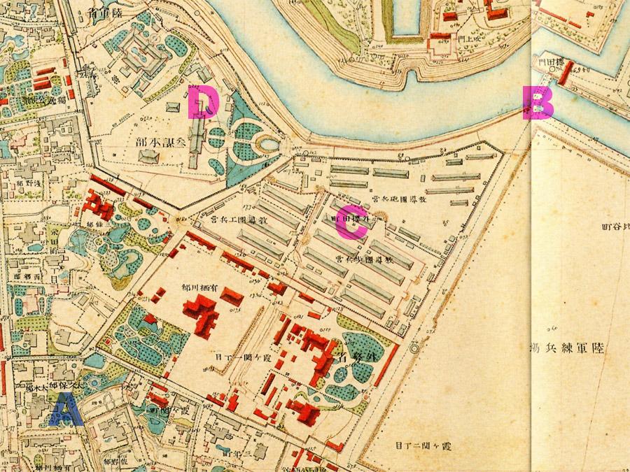 古地図:明治9-17年(1876-84年)5千分の1東京図測量原図より大久保邸と桜田門