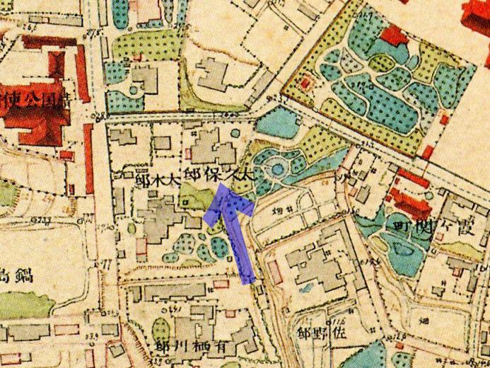 古地図:明治9-17年(1876-84年)5千分の1東京図測量原図より大久保邸