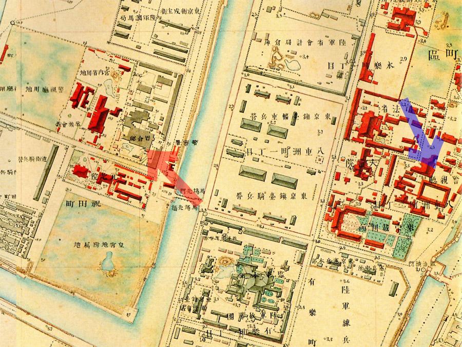 古地図;岩倉邸と警視庁