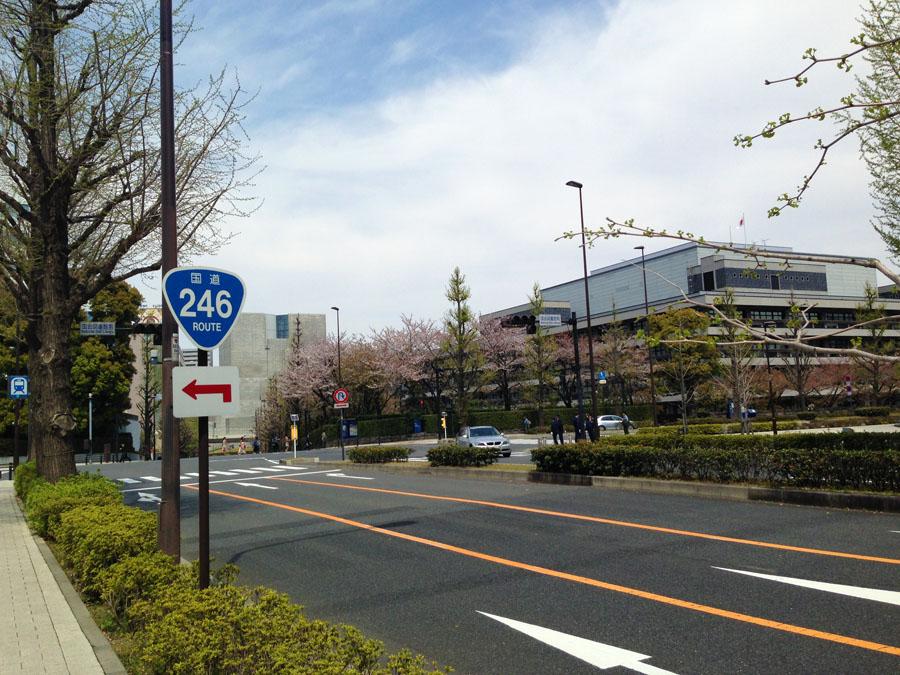 国会図書館前。ここを左折。
