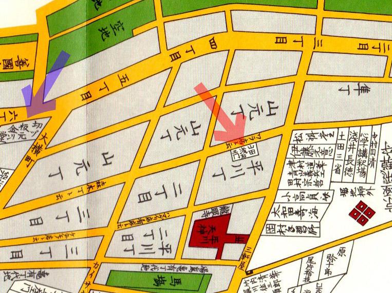 山田浅右衛門とこの切絵図の版元「金燐堂」も宣伝よりしくチャッカリ表記されています。