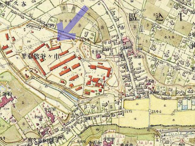 古地図:明治9-17年(1876-84年)5千分の1東京図測量原図より市ヶ谷監獄。