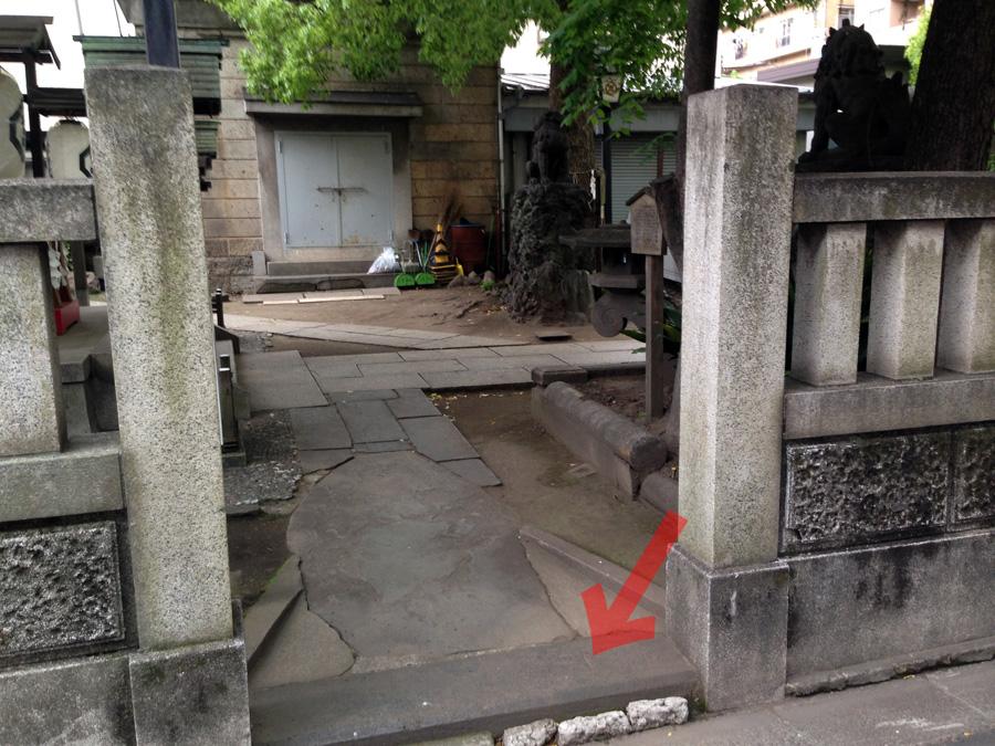 三島神社の北面入口の几号水準点