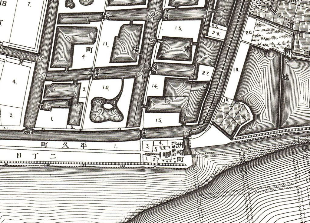 古地図:明治20年(1887年)東京実測図より洲崎神社