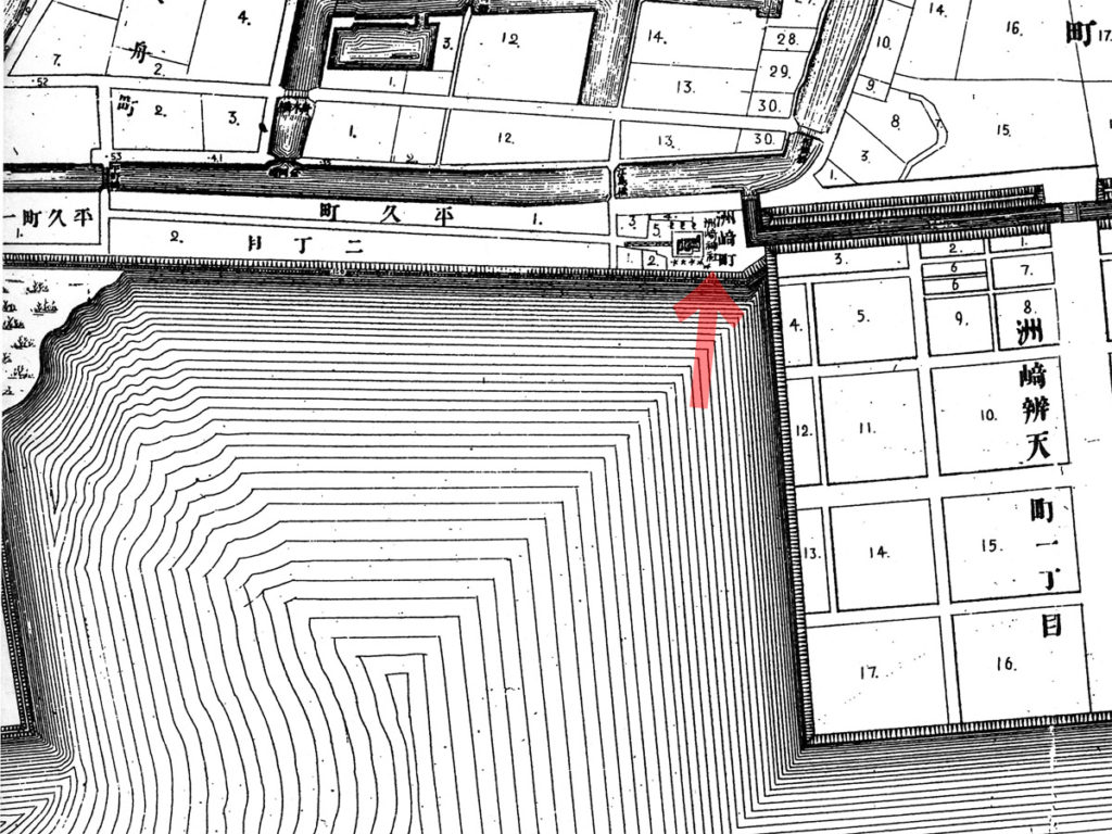 古地図:明治20年(1887年)東京実測図より洲崎神社(クリックで拡大)。