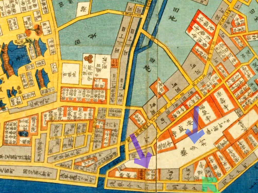 古地図:嘉永六年(1853年)尾張屋刊i今戸箕輪浅草絵図より