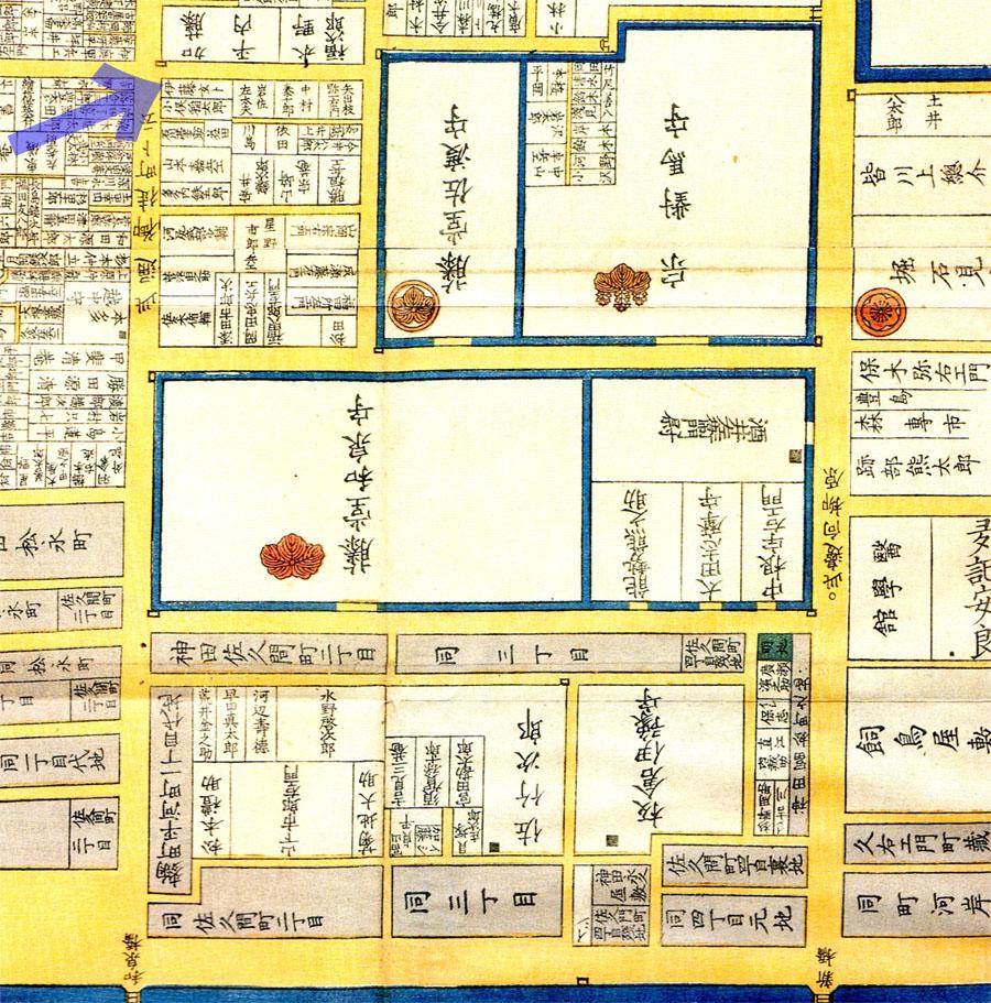古地図:嘉永四年(1851年)尾張屋刊江東都麻布絵図より伊藤玄朴。